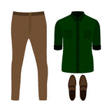 Set of  trendy men's clothes. Outfit of man pants, shirt and loa Royalty Free Stock Image