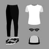 Set of  trendy men's clothes. Outfit of man pants, t-shirt and a Stock Photo