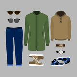 Set of  trendy men's clothes. Outfit of man parka, jeans, hoody. And accessories. Men's wardrobe. Vector illustration Stock Photography