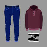 Set of trendy men's clothes with pants, hoody and sneakers. Men's wardrobe. Vector illustration Royalty Free Stock Photo