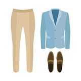 Set of trendy men's clothes with pants, jacket and loafers. Stock Image