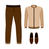 Set of trendy men's clothes with pants, jacket and moccasins Stock Photo
