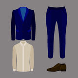 Set of trendy men's clothes with pants, jacket, shirt and shoes Royalty Free Stock Photos