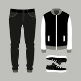 Set of trendy men's clothes with pants, jacket and sneakers. Men Stock Photo