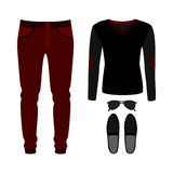 Set of trendy men's clothes with pants, pullover and accessories Stock Photography