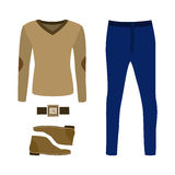 Set of trendy men's clothes with pants, pullover and accessories Royalty Free Stock Photos