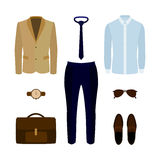 Set of trendy men's clothes with pants, shirt, jacket and access Royalty Free Stock Photography