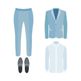 Set of trendy men's clothes with pants, shirt, jacket and loafer Stock Photos