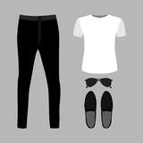 Set of trendy men's clothes with pants, t-shirt and accessories Royalty Free Stock Images