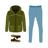 Set of trendy men's clothes with parka, jeans and sneakers. Men' Stock Image