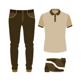 Set of trendy men's clothes with polo shirt, jeans and desert. Stock Photography