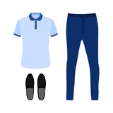 Set of trendy men's clothes with polo shirt, jeans and moccasins Stock Images