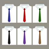 Set of trendy men's white shirts with ties Stock Photo