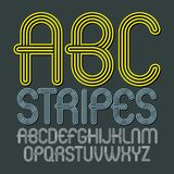 Set of trendy modern vector capital alphabet letters, abc isolat. Ed. Disco rounded font for use as business poster design elements. Made with triple stripy stock illustration
