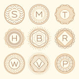 Set trendy monograms logotypes vector linear style Royalty Free Stock Photography