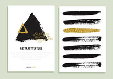 Set of trendy posters with gold glitter texture. Stock Photography