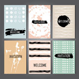 Set of Trendy Posters with hand drawn Background Stock Photo