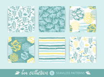 Set of Trendy sea seamless patterns with hand texture and geometric elements. Vector illustration Royalty Free Stock Photos
