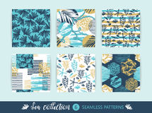 Set of Trendy sea seamless patterns with hand texture and geometric elements. Vector illustration Royalty Free Stock Images