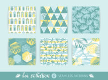 Set of Trendy sea seamless patterns with hand texture and geometric elements. Vector illustration Royalty Free Stock Image