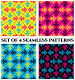 Set of 4 trendy seamless patterns with decorative ornament of yellow, pink, blue and black shades Royalty Free Stock Photos