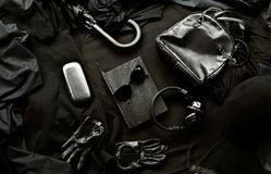 Set of trendy stylish black accessories and clothes Stock Photos