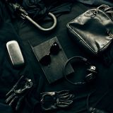 Set of trendy stylish black accessories and clothes Stock Images