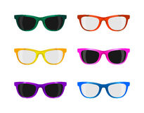 Set trendy sunglasses various colors on white Royalty Free Stock Images