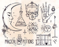 Set of trendy vector Alchemy symbols Stock Image
