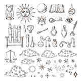 Set of trendy vector alchemy symbols collection  on white background. Stock Photography