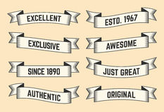 Set of trendy vector vintage ribbons, banners Royalty Free Stock Photos