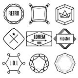 Set of trendy vintage hipster elements, labels, badges,  Stock Image