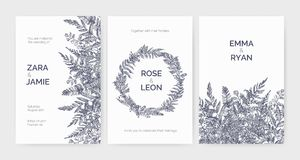 Set of trendy wedding invitation templates decorated with elegant ferns, wild herbs and herbaceous plants on white. Background. Monochrome hand drawn vector vector illustration
