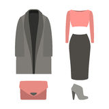 Set of  trendy women's clothes with coat, top, skirt Royalty Free Stock Image