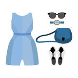 Set of trendy women's clothes with coveralls and accessories Stock Images