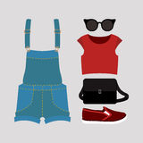 Set of trendy women's clothes with coveralls, top, slip-on and a Stock Images