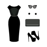 Set of  trendy women's clothes. Outfit of black woman dress with Royalty Free Stock Images