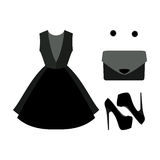 Set of  trendy women's clothes. Outfit of black woman dress with Stock Photos