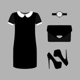 Set of  trendy women's clothes. Outfit of black woman dress with Stock Photo
