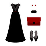 Set of  trendy women's clothes. Outfit of black woman evening dr Royalty Free Stock Photo