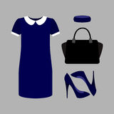 Set of  trendy women's clothes. Outfit of blue woman dress with Stock Photography