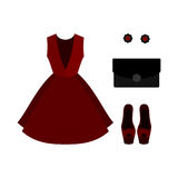 Set of  trendy women's clothes. Outfit of red woman dress with a Stock Photos