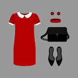 Set of  trendy women's clothes. Outfit of red woman dress with a Stock Photography