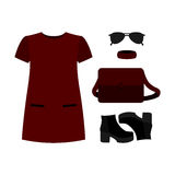 Set of  trendy women's clothes. Outfit of red woman dress with a Stock Images