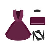 Set of  trendy women's clothes. Outfit of violet woman dress wit Royalty Free Stock Photography