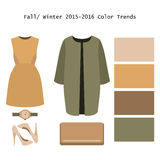 Set of  trendy women's clothes. Outfit of woman coat, dress and. Accessories. Full/winter color trends palette. Vector illustration Stock Photo