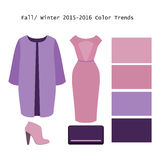 Set of  trendy women's clothes. Outfit of woman coat, dress and. Accessories. Full/winter color trends palette. Vector illustration Stock Photos