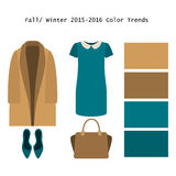Set of  trendy women's clothes. Outfit of woman coat, dress and. Accessories. Full/winter color trends palette. Vector illustration Stock Photography