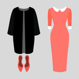 Set of trendy women's clothes. Outfit of woman coat, dress and pump. Women's wardrobe Stock Photos