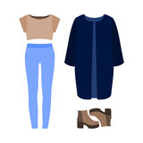 Set of  trendy women's clothes. Outfit of woman coat, panties, t Royalty Free Stock Image